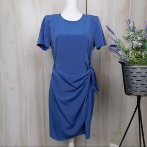 Vintage Blue Tied Waist Career Dress